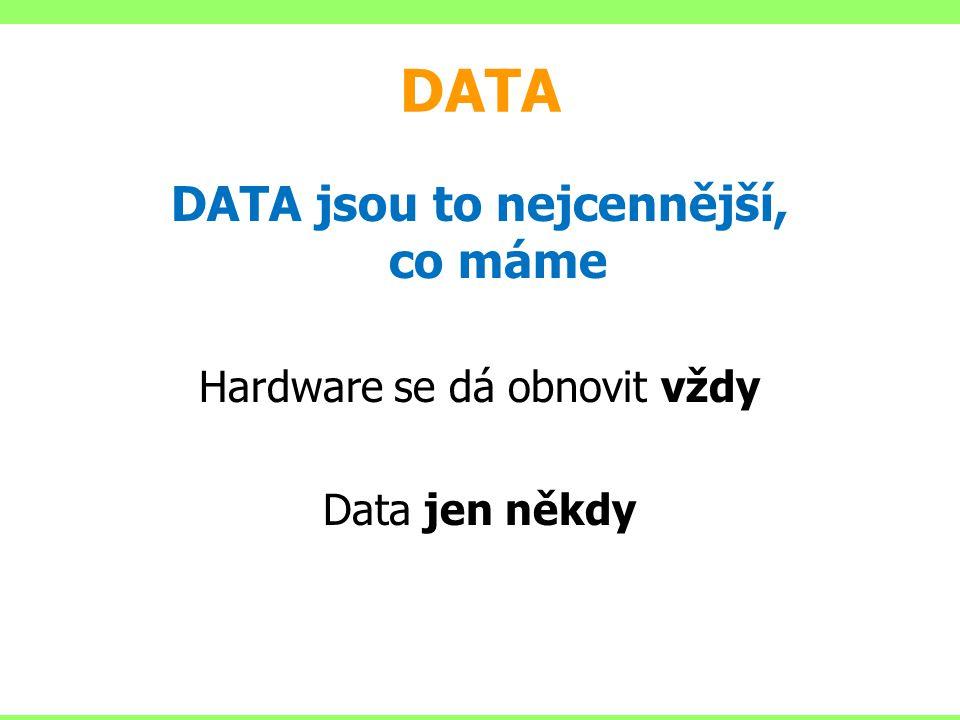 DATA DATA jsou to nejcennější, co máme Hardware se dá obnovit vždy Data jen někdy