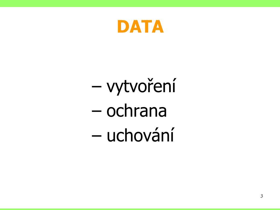 DATA – vytvoření – ochrana – uchování 3
