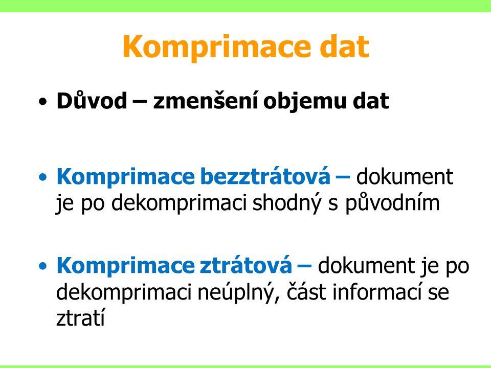 Komprimace dat Důvod – zmenšení objemu dat Komprimace bezztrátová – dokument je po dekomprimaci shodný s původním Komprimace ztrátová – dokument je po dekomprimaci neúplný, část informací se ztratí
