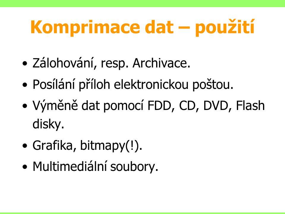 Komprimace dat – použití Zálohování, resp. Archivace.