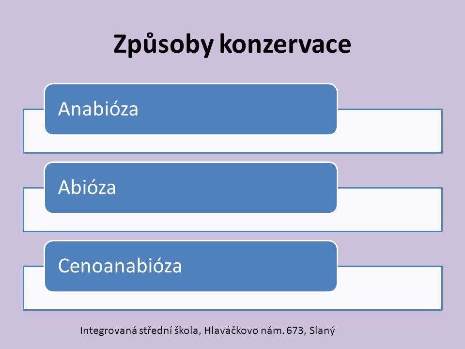 Způsoby konzervace AnabiózaAbiózaCenoanabióza Integrovaná střední škola, Hlaváčkovo nám. 673, Slaný
