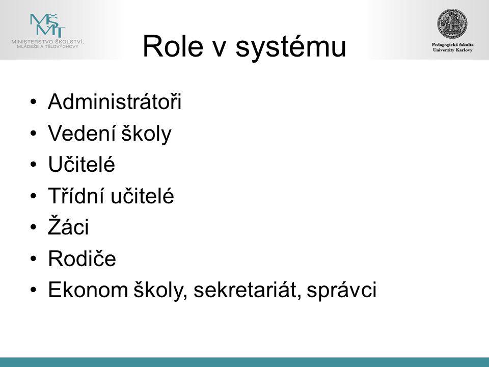 Role v systému Administrátoři Vedení školy Učitelé Třídní učitelé Žáci Rodiče Ekonom školy, sekretariát, správci