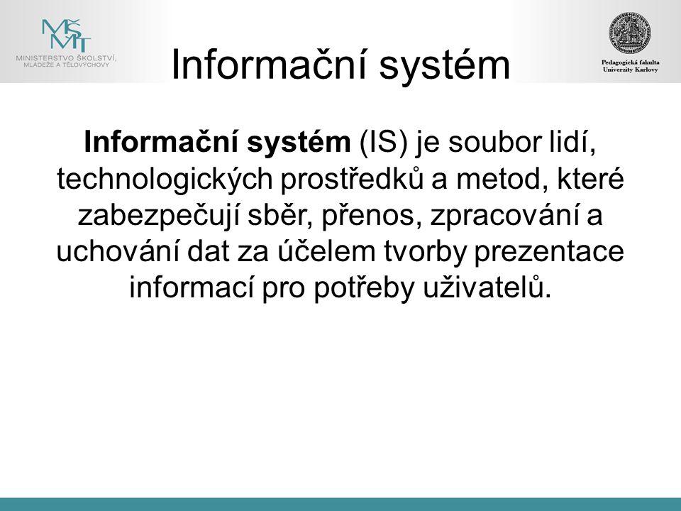 Informační systém Informační systém (IS) je soubor lidí, technologických prostředků a metod, které zabezpečují sběr, přenos, zpracování a uchování dat