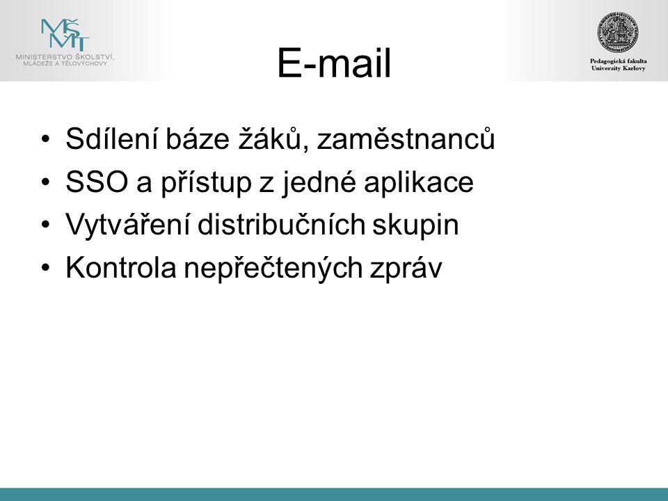 E-mail Sdílení báze žáků, zaměstnanců SSO a přístup z jedné aplikace Vytváření distribučních skupin Kontrola nepřečtených zpráv