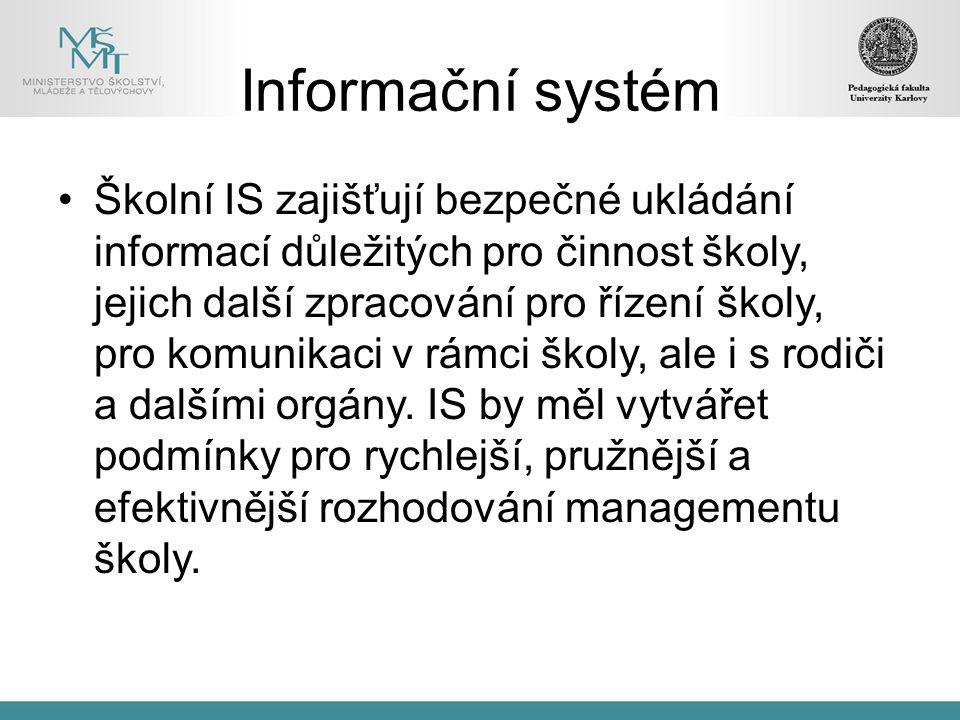 Informační systém Školní IS zajišťují bezpečné ukládání informací důležitých pro činnost školy, jejich další zpracování pro řízení školy, pro komunika