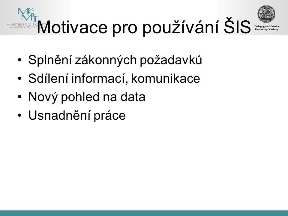 Motivace pro používání ŠIS Splnění zákonných požadavků Sdílení informací, komunikace Nový pohled na data Usnadnění práce