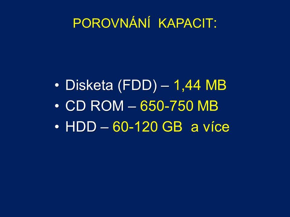 POROVNÁNÍ KAPACIT : Disketa (FDD) –Disketa (FDD) – 1,44 MB CD ROM –CD ROM – 650-750 MB HDD –HDD – 60-120 GB a více