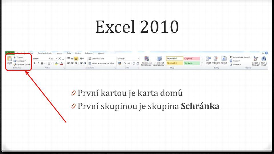 Excel 2010 0 První kartou je karta domů 0 První skupinou je skupina Schránka