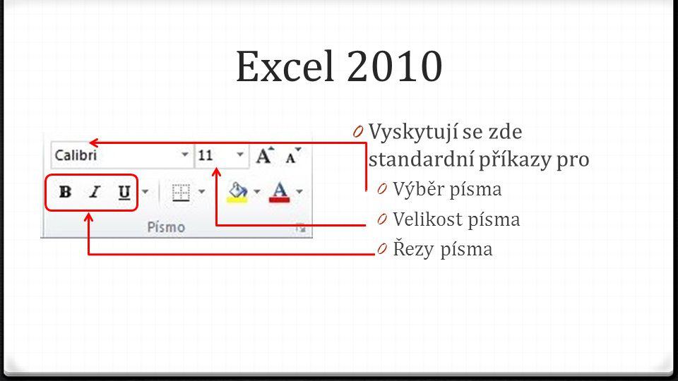 Excel 2010 0 Vyskytují se zde standardní příkazy pro 0 Výběr písma 0 Velikost písma 0 Řezy písma