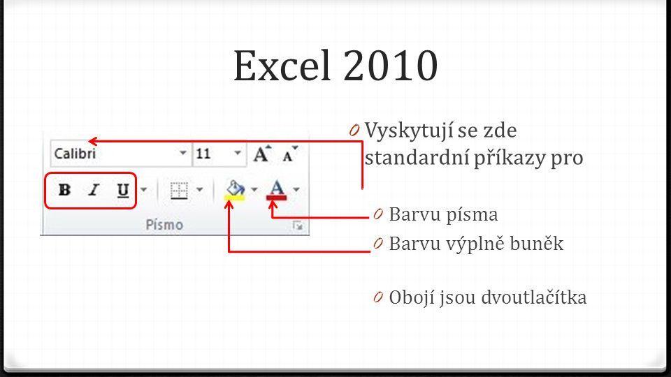 Excel 2010 0 Vyskytují se zde standardní příkazy pro 0 Barvu písma 0 Barvu výplně buněk 0 Obojí jsou dvoutlačítka