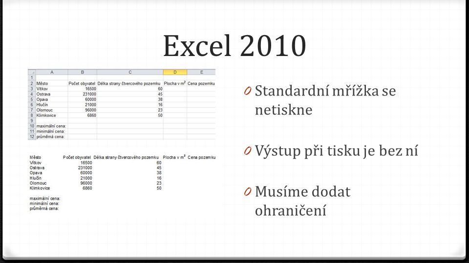 Excel 2010 0 Standardní mřížka se netiskne 0 Výstup při tisku je bez ní 0 Musíme dodat ohraničení