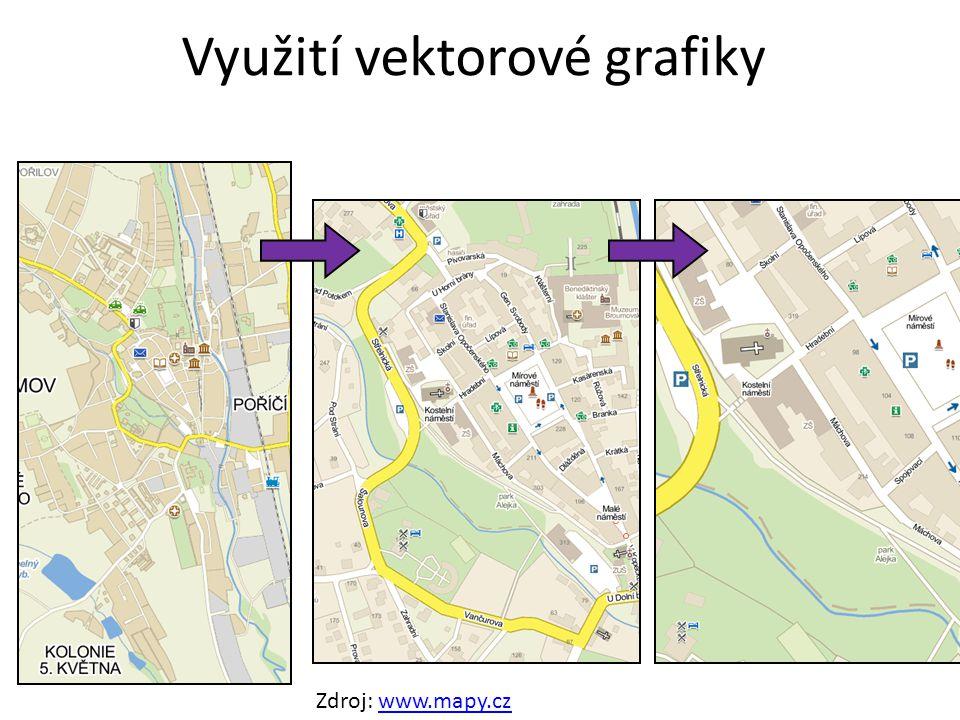 Využití vektorové grafiky Zdroj: www.mapy.czwww.mapy.cz
