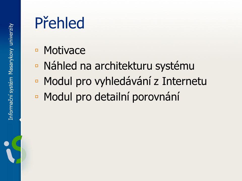 Přehled ▫ Motivace ▫ Náhled na architekturu systému ▫ Modul pro vyhledávání z Internetu ▫ Modul pro detailní porovnání Informační systém Masarykovy univerzity