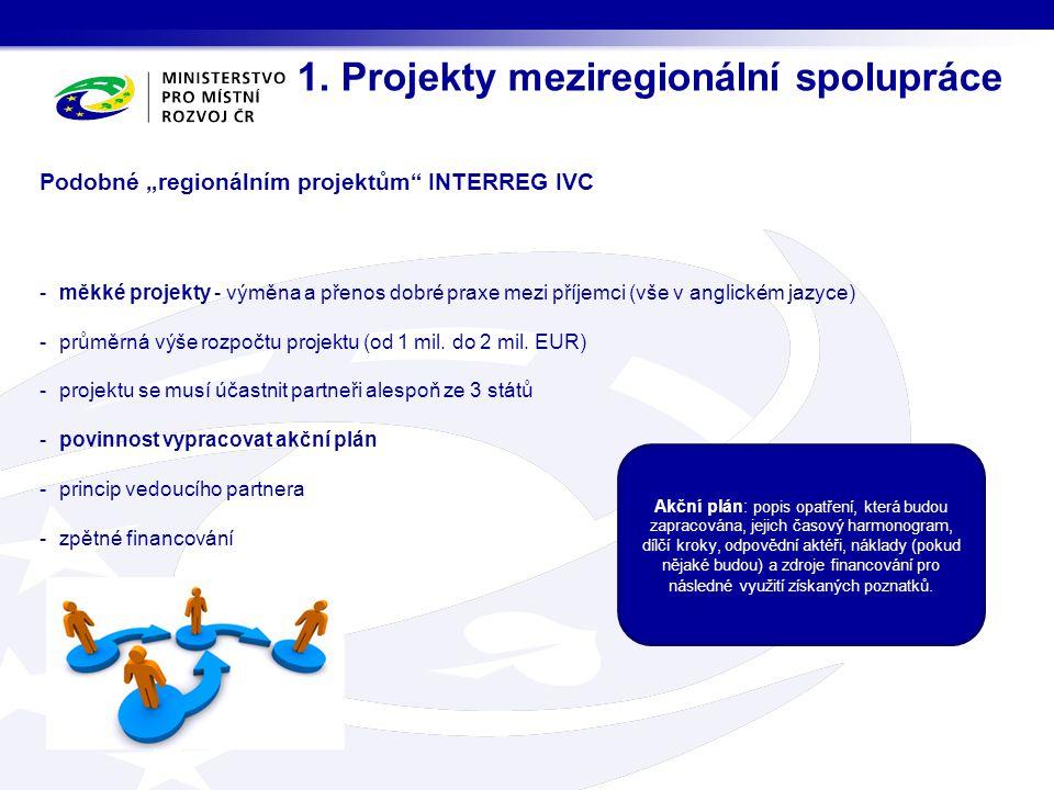 1. Projekty meziregionální spolupráce Akční plán: popis opatření, která budou zapracována, jejich časový harmonogram, dílčí kroky, odpovědní aktéři, n