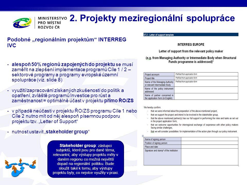 2. Projekty meziregionální spolupráce Stakeholder group: zástupci subjektů, které jsou pro dané téma, relevantní, aby výstupy projektu měly v daném re
