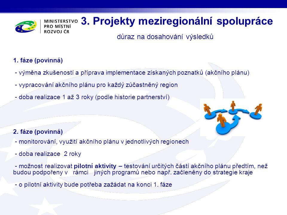 3. Projekty meziregionální spolupráce důraz na dosahování výsledků 1. fáze (povinná) - výměna zkušeností a příprava implementace získaných poznatků (a