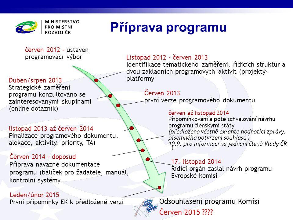 Listopad 2012 – červen 2013 Identifikace tematického zaměření, řídících struktur a dvou základních programových aktivit (projekty- platformy Duben/srp