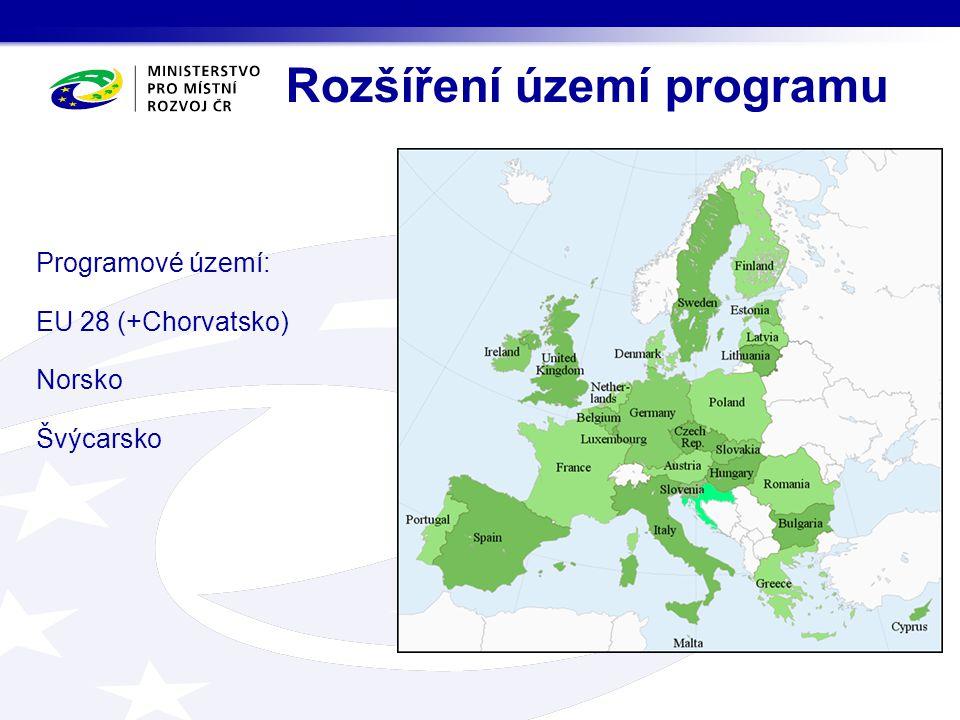 Rozšíření území programu Programové území: EU 28 (+Chorvatsko) Norsko Švýcarsko