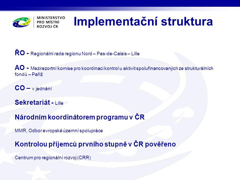 Implementační struktura ŘO - Regionální rada regionu Nord – Pas-de-Calais – Lille AO - Mezirezortní komise pro koordinaci kontrol u aktivit spolufinan