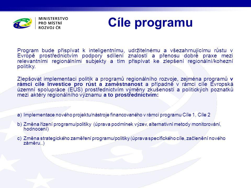 Cíle programu Program bude přispívat k inteligentnímu, udržitelnému a všezahrnujícímu růstu v Evropě prostřednictvím podpory sdílení znalostí a přenos