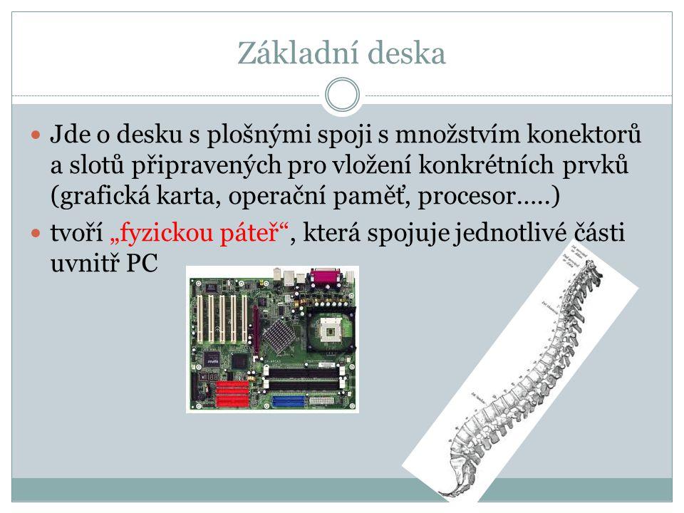 Základní deska Jde o desku s plošnými spoji s množstvím konektorů a slotů připravených pro vložení konkrétních prvků (grafická karta, operační paměť,