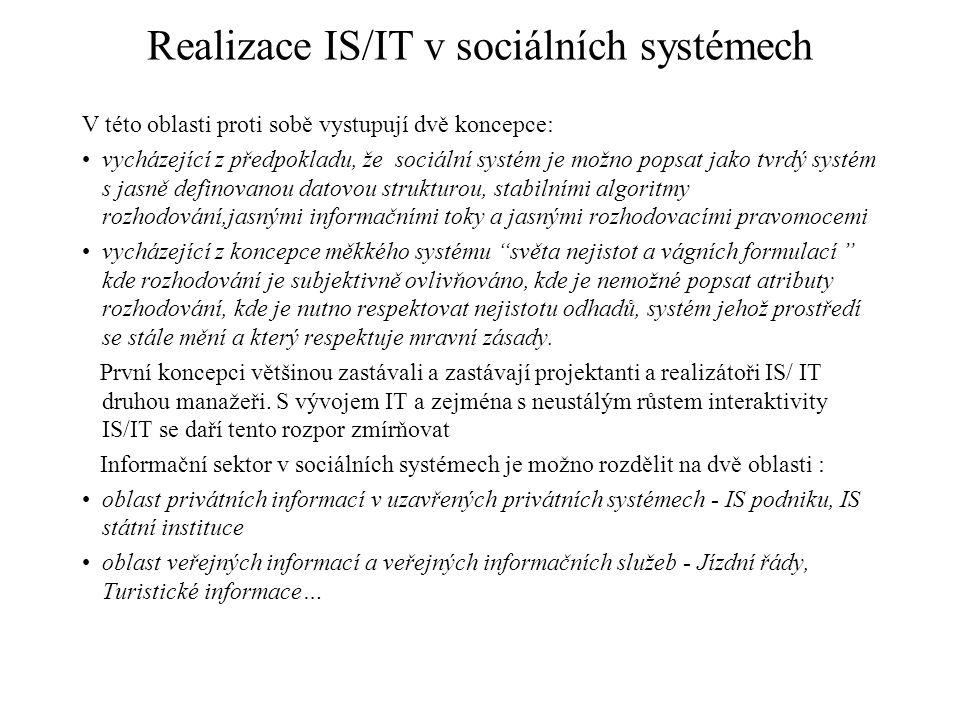 Realizace IS/IT v sociálních systémech V této oblasti proti sobě vystupují dvě koncepce: vycházející z předpokladu, že sociální systém je možno popsat