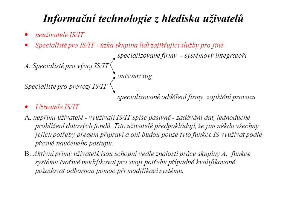 Informační technologie z hlediska uživatelů  neuživatele IS/IT  Specialisté pro IS/IT - úzká skupina lidí zajišťující služby pro jiné - specializova