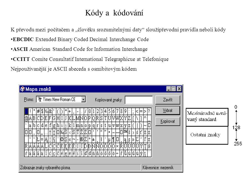"""Kódy a kódování K převodu mezi počítačem a """"člověku srozumitelnými daty"""" sloužípřevodní pravidla neboli kódy EBCDIC Extended Binary Coded Decimal Inte"""