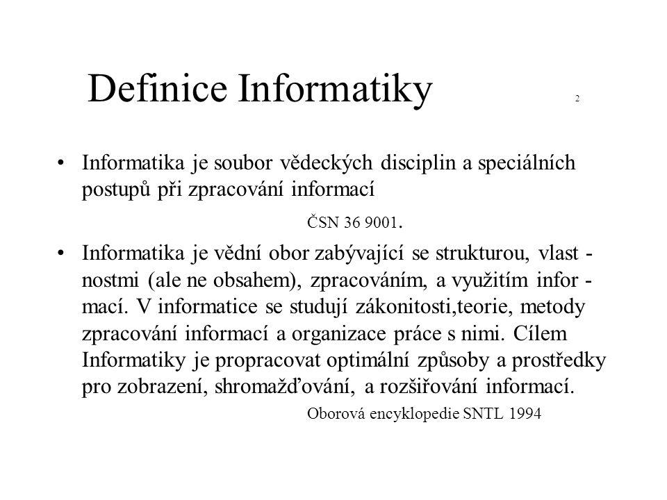 Definice Informatiky 2 Informatika je soubor vědeckých disciplin a speciálních postupů při zpracování informací ČSN 36 9001. Informatika je vědní obor