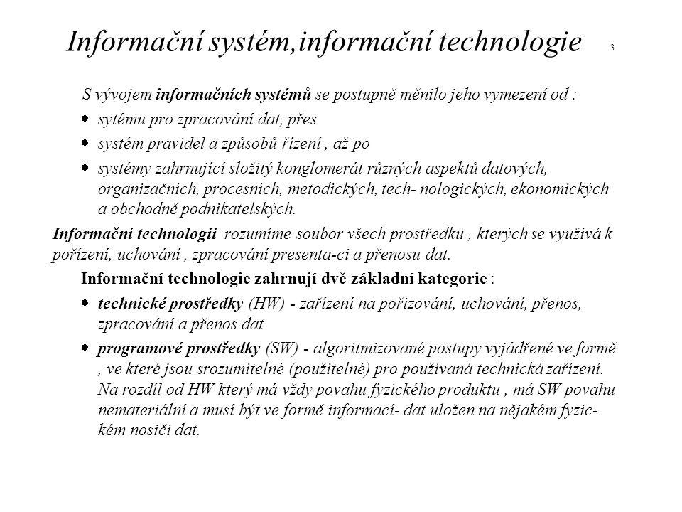 Informační systém,informační technologie 3 S vývojem informačních systémů se postupně měnilo jeho vymezení od :  sytému pro zpracování dat, přes  sy