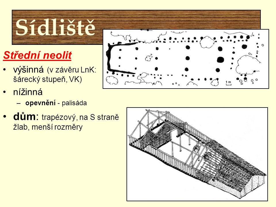 Sídliště Střední neolit výšinná (v závěru LnK: šárecký stupeň, VK) nížinná –opevnění - palisáda dům: trapézový, na S straně žlab, menší rozměry