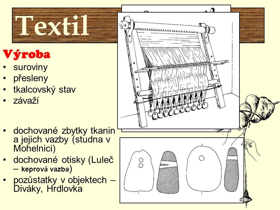 Textil Výroba suroviny přesleny tkalcovský stav závaží dochované zbytky tkanin a jejich vazby (studna v Mohelnici) dochované otisky (Luleč – keprová v