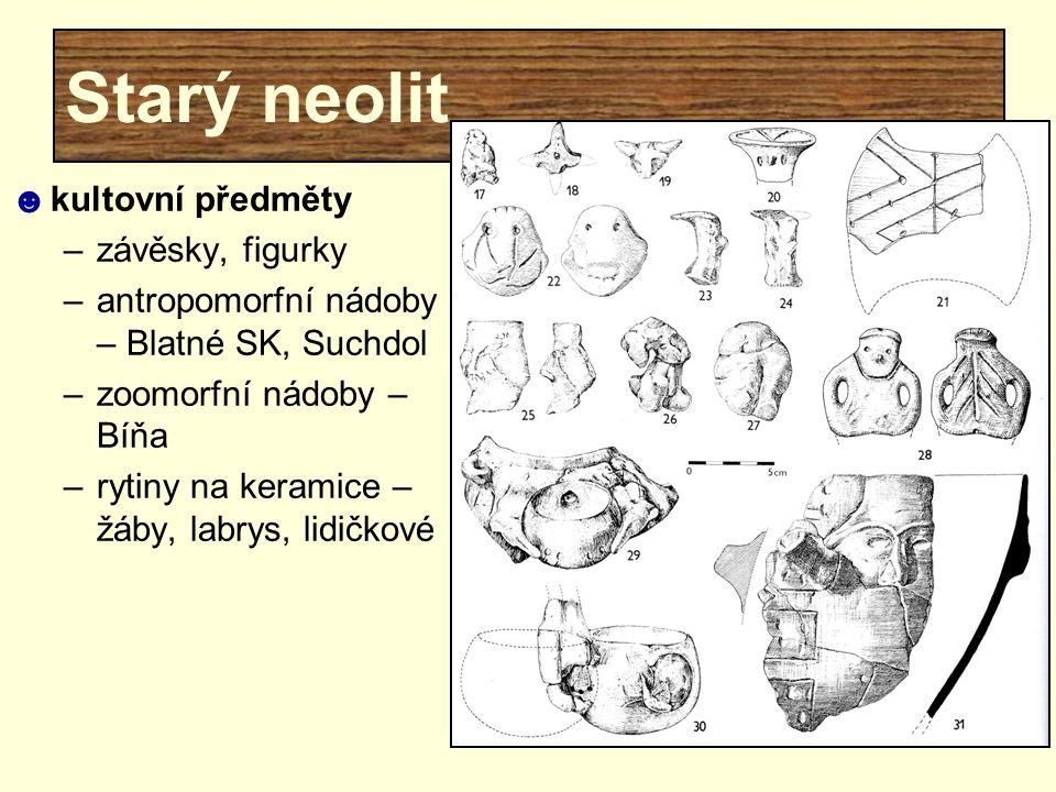 Starý neolit ☻kultovní předměty –závěsky, figurky –antropomorfní nádoby – Blatné SK, Suchdol –zoomorfní nádoby – Bíňa –rytiny na keramice – žáby, labr