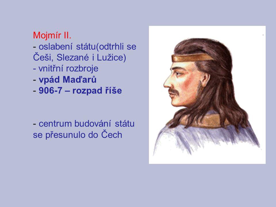 Mojmír II. - oslabení státu(odtrhli se Češi, Slezané i Lužice) - vnitřní rozbroje - vpád Maďarů - 906-7 – rozpad říše - centrum budování státu se přes