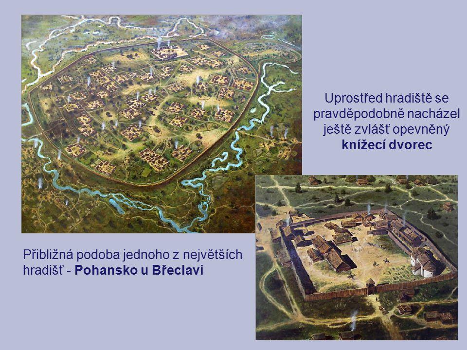 Přibližná podoba jednoho z největších hradišť - Pohansko u Břeclavi Uprostřed hradiště se pravděpodobně nacházel ještě zvlášť opevněný knížecí dvorec