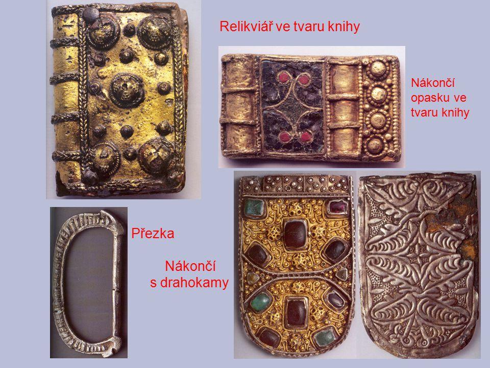 Relikviář ve tvaru knihy Nákončí opasku ve tvaru knihy Přezka Nákončí s drahokamy