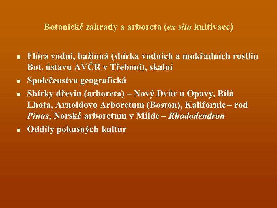 Botanické zahrady a arboreta (ex situ kultivace ) Flóra vodní, bažinná (sbírka vodních a mokřadních rostlin Bot. ústavu AVČR v Třeboni), skalní Společ