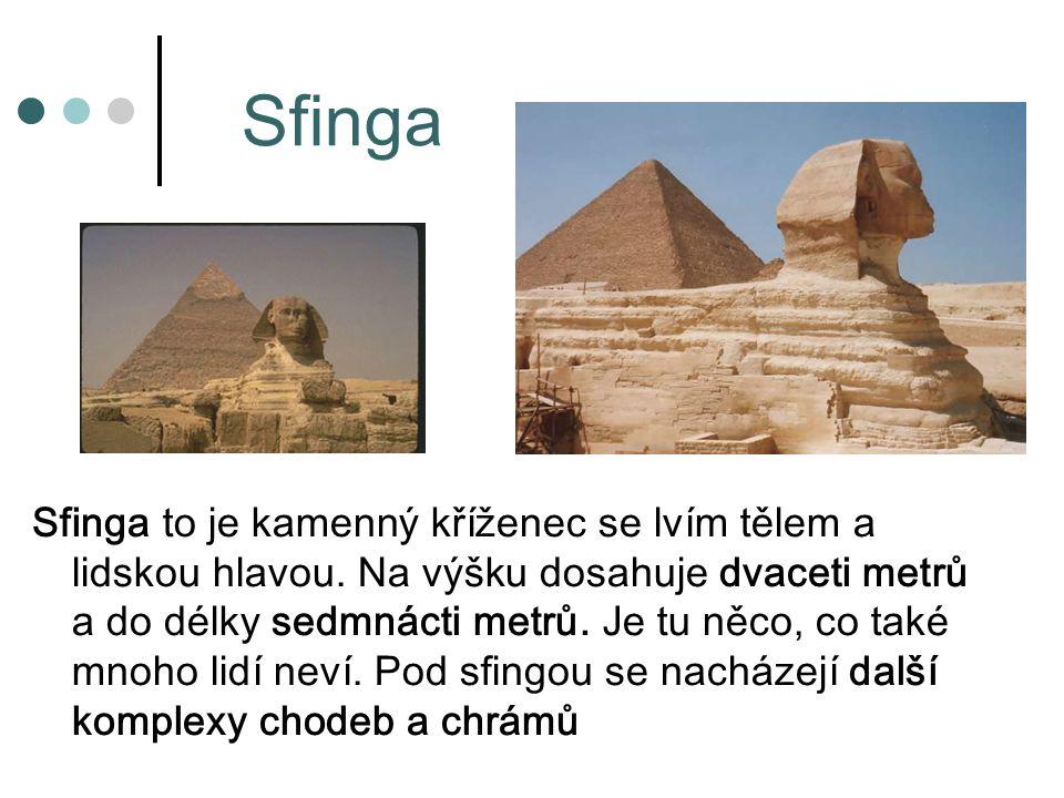 Sfinga Sfinga to je kamenný kříženec se lvím tělem a lidskou hlavou.