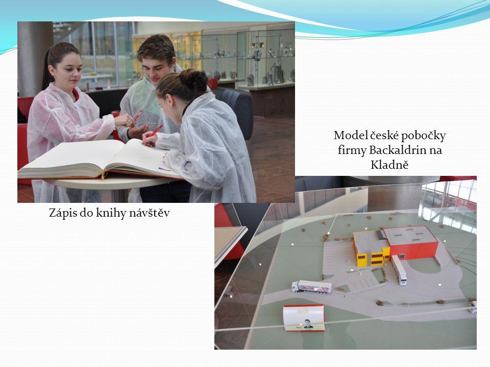 Zápis do knihy návštěv Model české pobočky firmy Backaldrin na Kladně