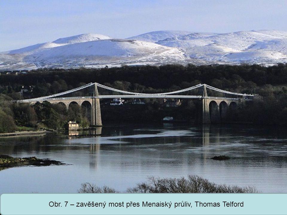 Střední škola Oselce Obr. 7 – zavěšený most přes Menaiský průliv, Thomas Telford