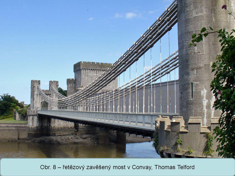 Střední škola Oselce Obr. 8 – řetězový zavěšený most v Convay, Thomas Telford
