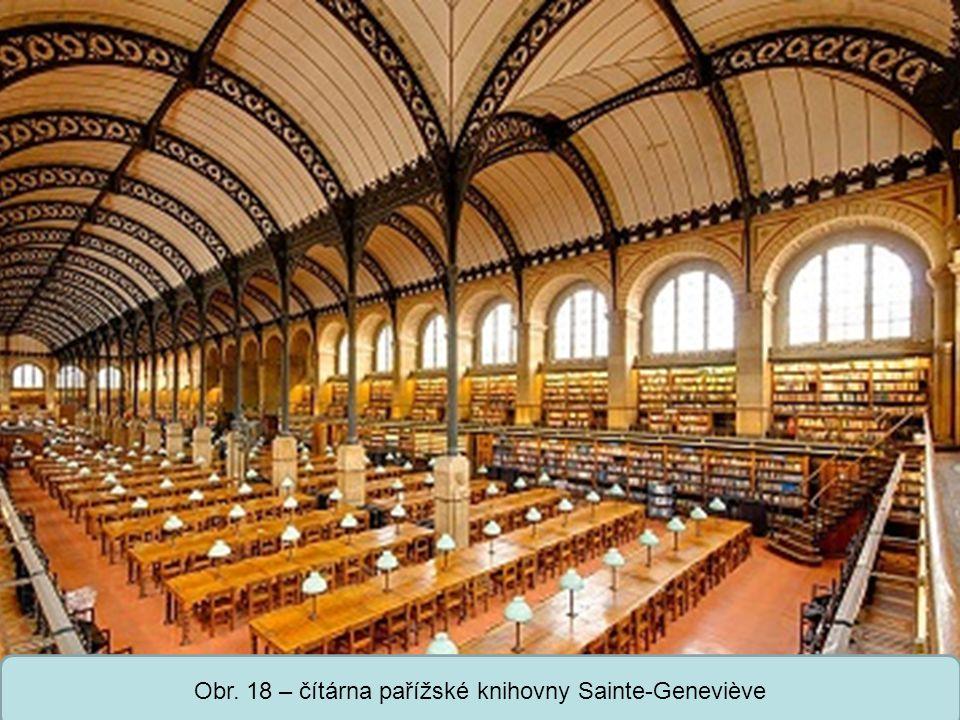 Střední škola Oselce Obr. 18 – čítárna pařížské knihovny Sainte-Geneviève