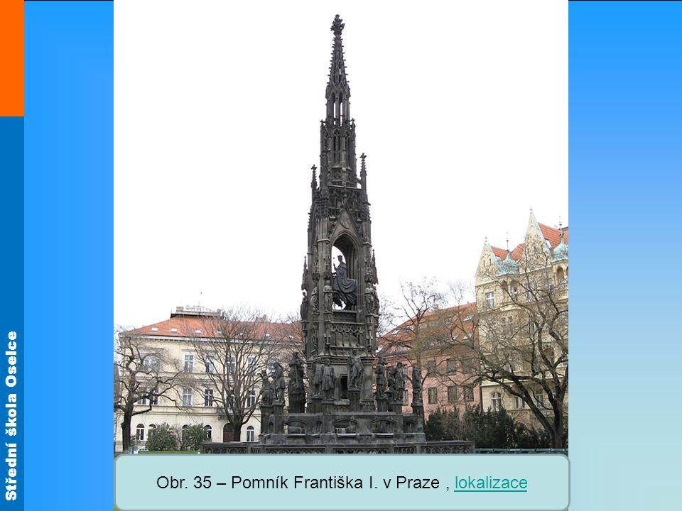 Střední škola Oselce Obr. 35 – Pomník Františka I. v Praze, lokalizacelokalizace