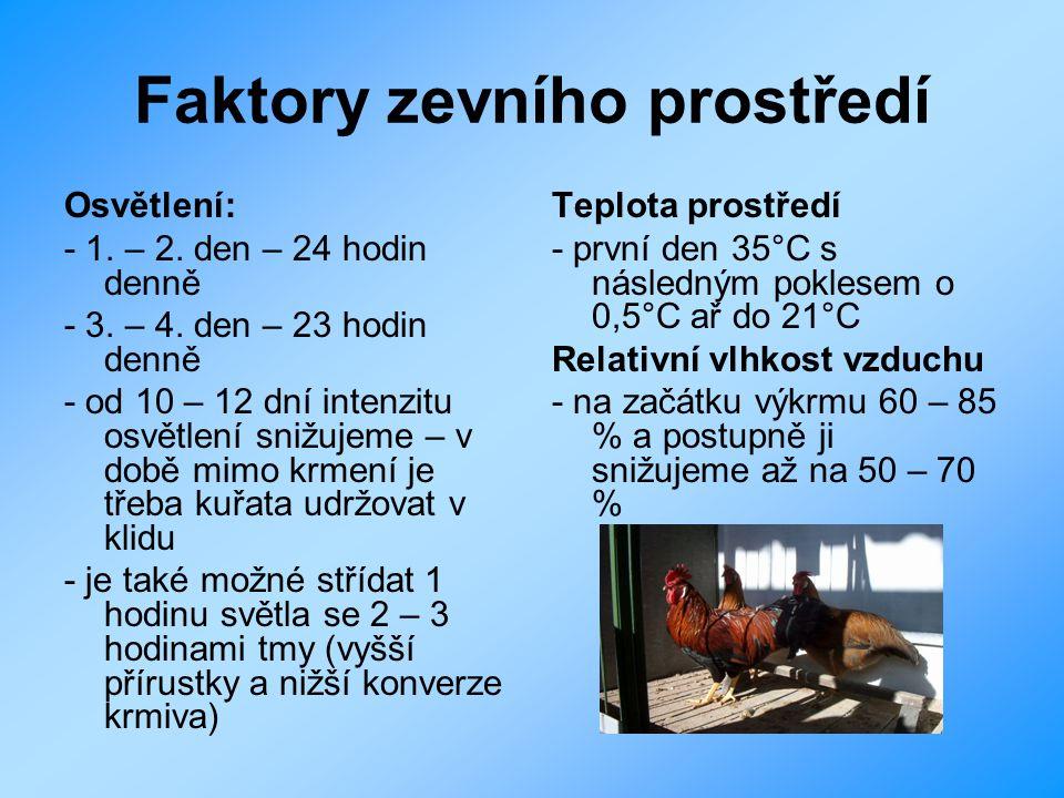 Akční radius pohybu zpočátku je třeba mít jednu kloboukovou napáječku pro 70 – 80 kuřat od 3 – 4 dne stačí jedna napáječka pro 180 kuřat vzdálenost mezi napáječkami může být maximálně 2,5 m a mezi krmítky do 1 m od 4 dne začneme navykat kuřata na normální krmítka přechodné napáječky a krmítka odstraňujeme postupně kuřata během výkrmu se zpravidla pohybují v teritoriu 12 – 15 m 2