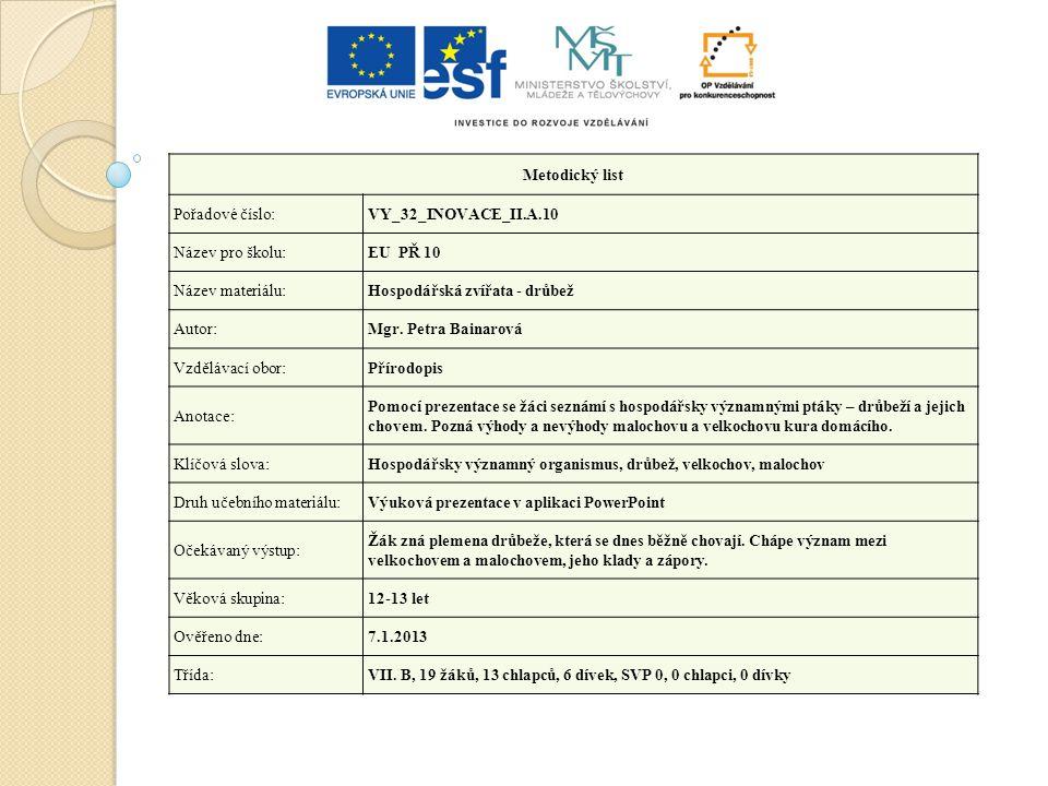 Metodický list Pořadové číslo:VY_32_INOVACE_II.A.10 Název pro školu:EU PŘ 10 Název materiálu:Hospodářská zvířata - drůbež Autor:Mgr. Petra Bainarová V
