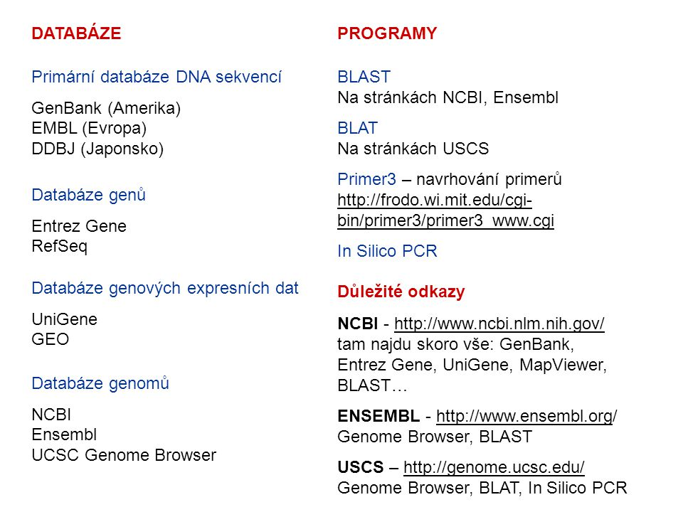 DATABÁZE Primární databáze DNA sekvencí GenBank (Amerika) EMBL (Evropa) DDBJ (Japonsko) Databáze genů Entrez Gene RefSeq Databáze genových expresních