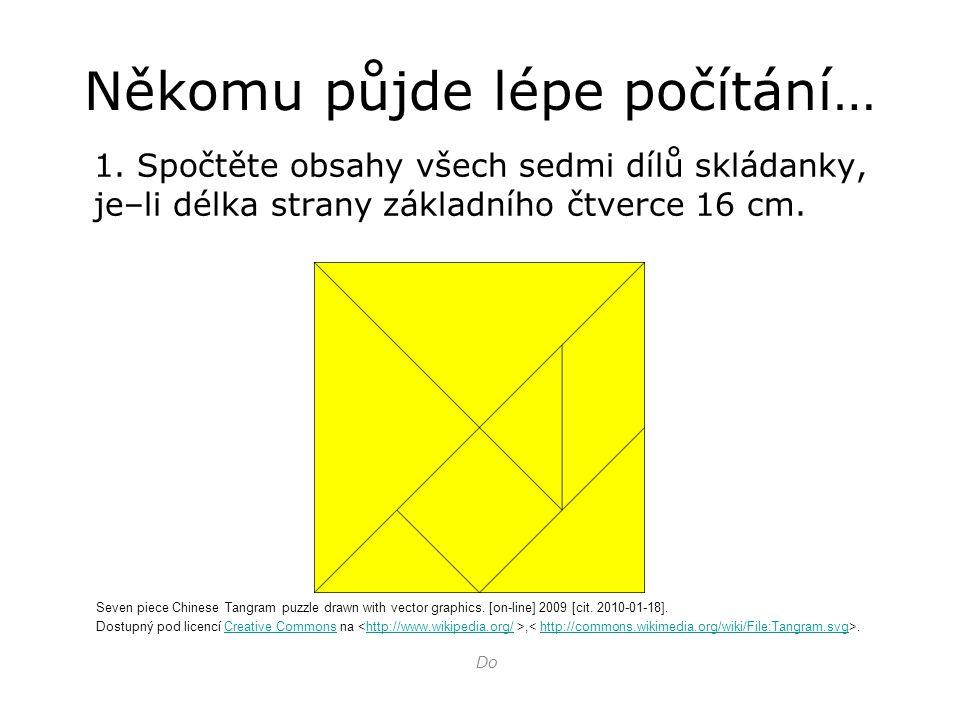 Někomu půjde lépe počítání… 1. Spočtěte obsahy všech sedmi dílů skládanky, je–li délka strany základního čtverce 16 cm. Do Seven piece Chinese Tangram