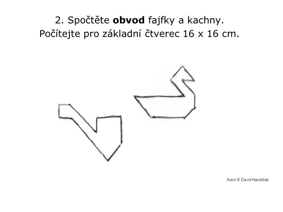 2. Spočtěte obvod fajfky a kachny. Počítejte pro základní čtverec 16 x 16 cm. Autor © David Hanzlíček