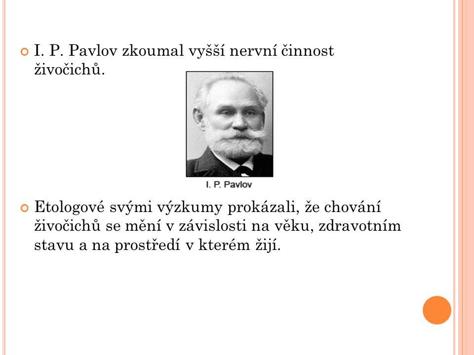 I. P. Pavlov zkoumal vyšší nervní činnost živočichů. Etologové svými výzkumy prokázali, že chování živočichů se mění v závislosti na věku, zdravotním