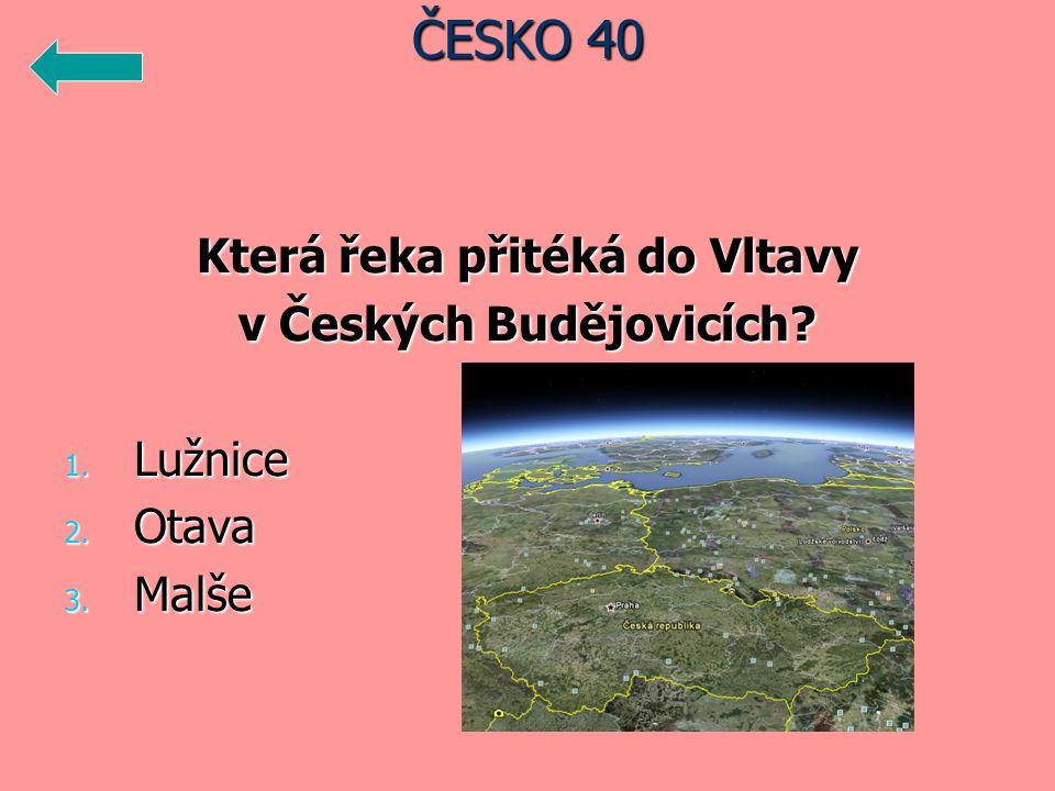Která řeka přitéká do Vltavy v Českých Budějovicích 1. Lužnice 2. Otava 3. Malše ČESKO 40